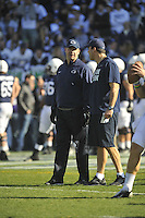 17 November 2012:  Penn State coach Bill O'Brien smiles as he talks with Craig Fitzgerald. The Penn State Nittany Lions vs. the Indiana Hoosiers at Beaver Stadium in State College, PA.