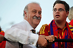 02.07.2012. Vicente del Bosque and his son during Tour of Madrid of the Spanish football team to celebrate their victory in Euro 2012 july 2012.(ALTERPHOTOS/ARNEDO)