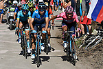 Maglia Rosa Richard Carapaz (ECU) comes by team mate Mikel Landa Meana (ESP) Movistar Team, with Pello Bilbao (ESP) Astana Pro Team and Vincenzo Nibali (ITA) Bahrain-Merida behind during Stage 20 of the 2019 Giro d'Italia, running 194km from Feltre to Croce d'Aune-Monte Avena, Italy. 1st June 2019<br /> Picture: Fabio Ferrari/LaPresse | Cyclefile<br /> <br /> All photos usage must carry mandatory copyright credit (© Cyclefile | Fabio Ferrari/LaPresse)
