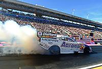 Oct. 26, 2012; Las Vegas, NV, USA: NHRA funny car driver Matt Hagan during qualifying for the Big O Tires Nationals at The Strip in Las Vegas. Mandatory Credit: Mark J. Rebilas-