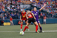 Rochester, NY - Saturday June 11, 2016: Orlando Pride forward Alex Morgan (13), Western New York Flash midfielder Abigail Dahlkemper (13), Western New York Flash defender Jaelene Hinkle (15) during a regular season National Women's Soccer League (NWSL) match between the Western New York Flash and the Orlando Pride at Rochester Rhinos Stadium.
