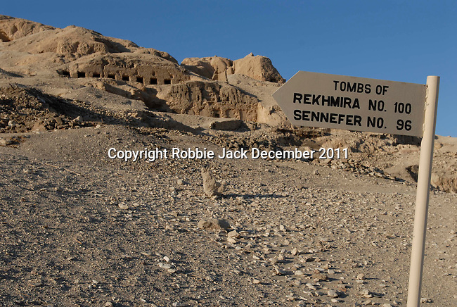 A sign showing the way to the tombs of the nobles Rekhmira and Sennefer in the Theban Hills.Thebes is the name the Greeks gave to Waset, the ancient capital of Egypt.