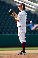 Clay Murphy (8) of the Missouri State Bears looks for the pitch sign during a game against the Wichita State Shockers on April 9, 2011 at Hammons Field in Springfield, Missouri.  Photo By David Welker/Four Seam Images