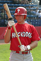 June 26, 2005:  Catcher Lou Marson of the Batavia Muckdogs during a game at Russell Diethrick Park in Jamestown, NY.  The Muckdogs are the Short Season Class-A affiliate of the Philadelphia Phillies.  Photo By Mike Janes/Four Seam Images