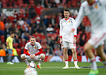 Wayne Rooney of Manchester United and Michael Carrick of Manchester United look on as other players warm up before the Europa League Semi Final 2nd Leg match at Old Trafford Stadium, Manchester. Picture date: May 11th 2017. Pic credit should read: Simon Bellis/Sportimage