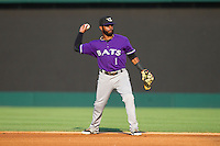 Louisville Bats second baseman Rey Navarro (1) makes a throw to first base against the Charlotte Knights at BB&T Ballpark on June 26, 2014 in Charlotte, North Carolina.  The Bats defeated the Knights 6-4.  (Brian Westerholt/Four Seam Images)