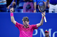 NEW YORK, USA - SEPT 09, Stan Wawrinka of Switzerland celebrates his victory over Kei Nishikori of Japan during their Men's Singles Semifinal Match of the 2016 US Open at the USTA Billie Jean King National Tennis Center on September 9, 2016 in New York.  photo by VIEWpress