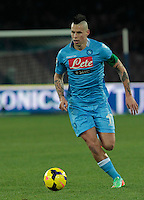 Marek Hamsik   in action during the Italian Serie A soccer match between SSC Napoli and Chievo  at San Paolo stadium in Naples, January 25, 2014