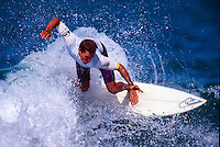 Kelly Slater (USA)  surfing in the 1996 Quiksilver Surf Masters at the Grand Plage in Biarritz in the South West corner of France. Photo: <br /> joliphotos.com