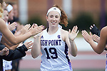 Meredith Chapman (19) of the High Point Panthers high fives her teammates during player introductions prior to the match against the North Carolina Tar Heels at Vert Track, Soccer & Lacrosse Stadium on February 16, 2018 in High Point, North Carolina.  The Tar Heels defeated the Panthers 14-10.  (Brian Westerholt/Sports On Film)