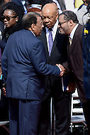 Washington, DC - May 7, 2016: Georgetown professor Michael Eric Dyson (r) and Rep. Elijah Cummings greet former Atlanta mayor and civil rights activist Andrew Young before the start of Howard University's 148th Commencement Convocation May 7, 2016.  (Photo by Don Baxter/Media Images International)