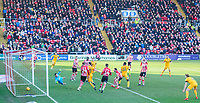 Northampton Town's Aaron Pierre scores his side's equalising goal to make the score 1-1<br /> <br /> Photographer Chris Vaughan/CameraSport<br /> <br /> The EFL Sky Bet League Two - Lincoln City v Northampton Town - Saturday 9th February 2019 - Sincil Bank - Lincoln<br /> <br /> World Copyright &copy; 2019 CameraSport. All rights reserved. 43 Linden Ave. Countesthorpe. Leicester. England. LE8 5PG - Tel: +44 (0) 116 277 4147 - admin@camerasport.com - www.camerasport.com