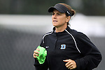 19 August 2012: Duke assistant coach Carla Overbeck. The Duke University Blue Devils defeated the Elon University Phoenix 8-0 at Koskinen Stadium in Durham, North Carolina in a 2012 NCAA Division I Women's Soccer game.