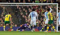 Blackburn Rovers' Jayson Leutwiler saves a goal struck by Norwich City's Onel Hernandez <br /> <br /> Photographer David Horton/CameraSport<br /> <br /> The EFL Sky Bet Championship - Norwich City v Blackburn Rovers - Saturday 27th April 2019 - Carrow Road - Norwich<br /> <br /> World Copyright © 2019 CameraSport. All rights reserved. 43 Linden Ave. Countesthorpe. Leicester. England. LE8 5PG - Tel: +44 (0) 116 277 4147 - admin@camerasport.com - www.camerasport.com