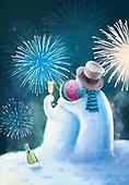 Sharon, CHRISTMAS SYMBOLS, WEIHNACHTEN SYMBOLE, NAVIDAD SÍMBOLOS, GBSS, paintings+++++,GBSSC50XNY3,#XX# ,New Year's Eve,snowmen,firework