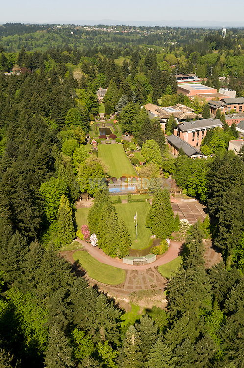 Aerial view of Lewis and Clark University in southwest Portland, OR