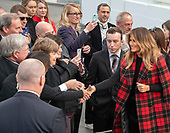 First lady Melania Trump greets guests as she and United States President Donald J. Trump accept the White House Christmas tree on the North Driveway of the White House in Washington, DC on Monday, November 19, 2018. The 2018 White House Christmas Tree will arrive as in previous years by horse and carriage on the North Portico. The tree will be displayed in the Blue Room of the White House. <br /> Credit: Ron Sachs / CNP<br /> (RESTRICTION: NO New York or New Jersey Newspapers or newspapers within a 75 mile radius of New York City)