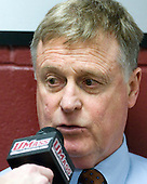 "Don ""Toot"" Cahoon (UMass - Head Coach) - The Boston College Eagles defeated the visiting University of Massachusetts-Amherst Minutemen 2-1 in the opening game of their 2012 Hockey East quarterfinal matchup on Friday, March 9, 2012, at Kelley Rink at Conte Forum in Chestnut Hill, Massachusetts."