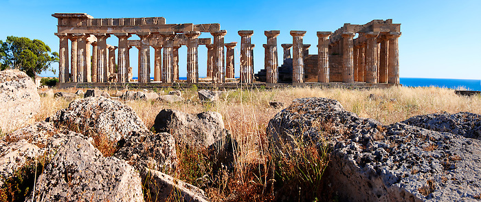 Fallen column drums of Greek Dorik Temple ruins  Selinunte, Sicily