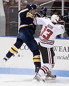 Trent Bonnett (Bentley - 6), Randy Guzior (NU - 13) - The Northeastern University Huskies defeated the Bentley University Falcons 3-2 on Friday, October 16, 2009, at Matthews Arena in Boston, Massachusetts..