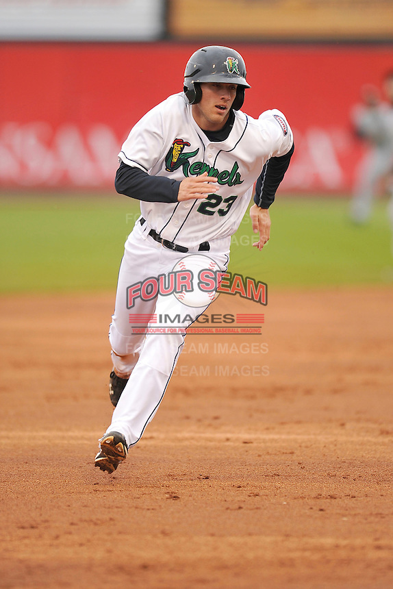 Zack Larson #23 of the Cedar Rapids Kernels heads toward third base against the Kane County Cougars at Perfect Game Field on May 1, 2014 in Cedar Rapids, Iowa. The Kernels won 5-2.   (Dennis Hubbard/Four Seam Images)