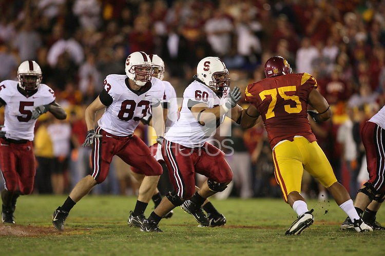 6 October 2007: Jim Dray and Alex Fletcher after Stanford's 24-23 win over the #1 ranked USC Trojans in the Los Angeles Coliseum in Los Angeles, CA.