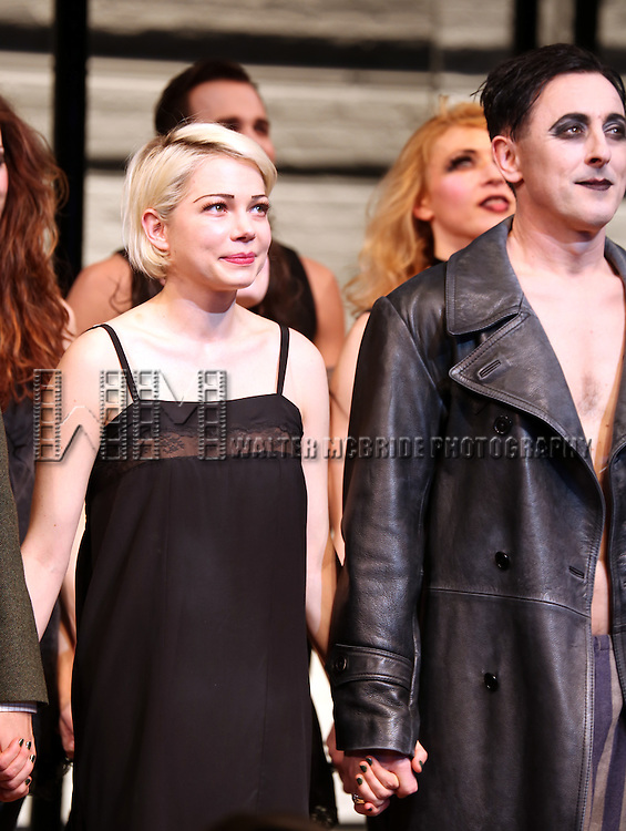 Michelle Williams and Alan Cumming during the Broadway Opening Night Performance Curtain Call for 'Cabaret' at Studio 54 on April 24, 2014 in New York City.