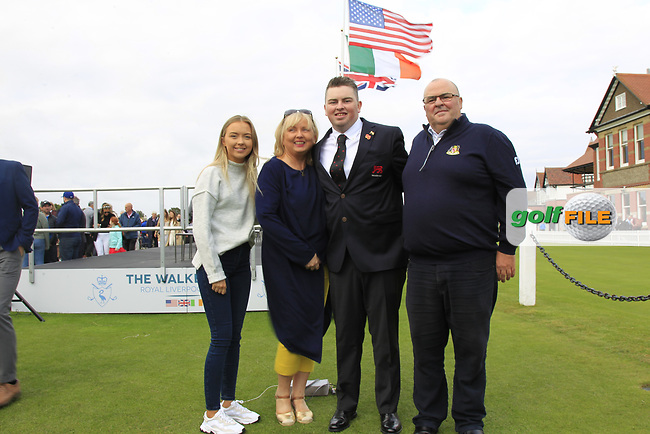 Caolan Rafferty (GB&I) with family during the Official Opening of the Walker Cup, Royal Liverpool Golf CLub, Hoylake, Cheshire, England. 06/09/2019.<br /> Picture Thos Caffrey / Golffile.ie<br /> <br /> All photo usage must carry mandatory copyright credit (© Golffile   Thos Caffrey)