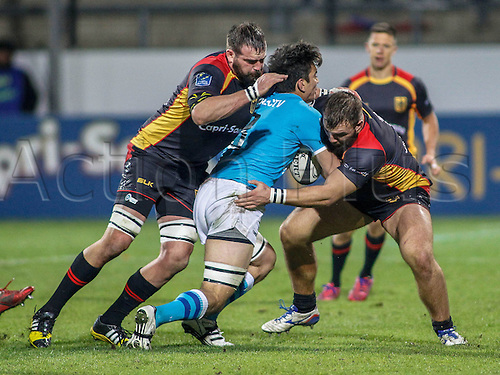 12.11.2016. Frankfurt, Germany. International rugby union friendly between Germany and Uruguay. Erik Marks and Julius Nostadt (Germ) stop the Uruguay attack