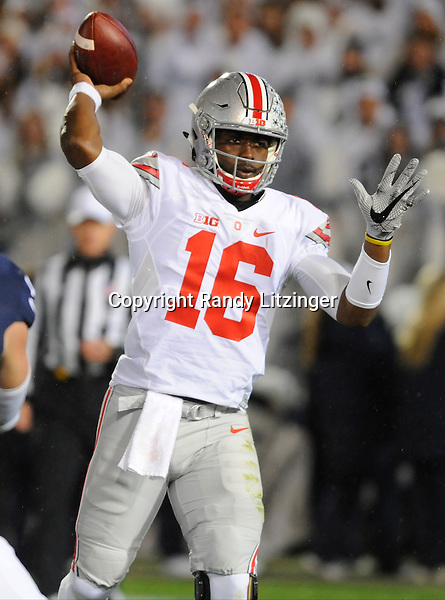 22 October 2016:  Ohio State QB J.T. Barrett (16) throws from the pocket. The Penn State Nittany Lions upset the #2 ranked Ohio State Buckeyes 24-21 at Beaver Stadium in State College, PA. (Photo by Randy Litzinger/Icon Sportswire)
