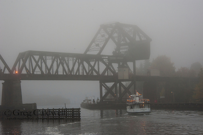 Fog along the Lake Washington Ship Canal. Ballard Railroad Trestle at West end of Chittenden lock.