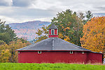 Red round barn in Barnet, Northeast Kingdom, VT
