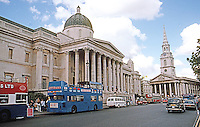 London: Trafalgar Square National Gallery and St. Martin in the Field St. as it was in June 1990.