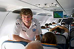 St Johnstone v Eskisehirspor....18.07.12  Uefa Cup Qualifyer.Murray Davidson on the flight out to Turkey.Picture by Graeme Hart..Copyright Perthshire Picture Agency.Tel: 01738 623350  Mobile: 07990 594431