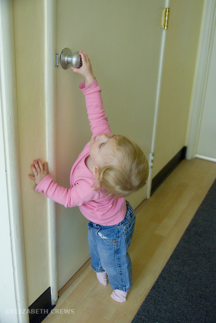 Berkeley CA Girl, one and a half, trying to manipulate door handle  MR