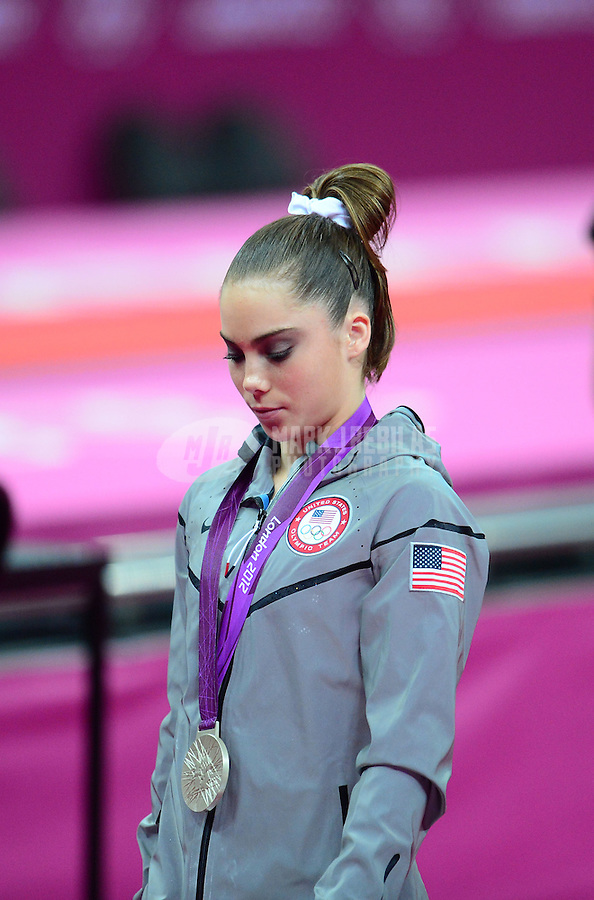 Aug 5, 2012; London , United Kingdom; McKayla Maroney (USA) reacts after winning the silver medal in the vault competition at North Greenwich Arena in the London 2012 Olympic Games. Mandatory Credit: Mark J. Rebilas-USA TODAY Sports