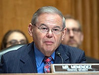 """United States Senator Bob Menendez (Democrat of New Jersey), Ranking Member, US Senate Committee on Foreign Relations, makes opening remarks as US Secretary of State Mike Pompeo appears before the  to """"Review  the FY 2019 State Department budget request"""" on Capitol Hill in Washington, DC on Thursday, May 24, 2018.  Prior to delivering his prepared remarks, Secretary Pompeo read a letter from US President Donald J. Trump to North Korean leader Kim Jong-un cancelling their planned summit in Singapore on June 12, 2018<br /> Credit: Ron Sachs / CNP /MediaPunch"""