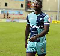 Aaron Pierre of Wycombe Wanderers leaves the field looking dejected after a 1-1 draw with Morecambe during the Sky Bet League 2 match between Morecambe and Wycombe Wanderers at the Globe Arena, Morecambe, England on 29 April 2017. Photo by Stephen Gaunt / PRiME Media Images.