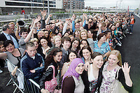 28/6/2010. The X Factor Judge hopefulls are pictured outside the Dublin Convention center Spencer Dock. Picture James Horan/Collins.