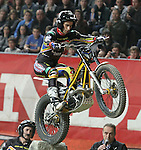 10.02.2013. Barcelona, Spain. FIM X Trial World Championship. Picture show Albert Cabestany riding Sherco in action during GP of Catalunya at Palau St. Jordi