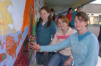 Taking part in  the Nagle Rice School Milltown  day of art on Friday were from left, Bronagh Murphy, Breda Fleming and Jennifer O'Reilly<br />