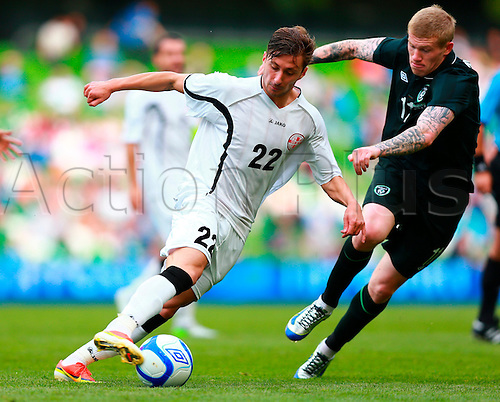 02.06.2013 Dublin, Ireland. David Targamadze (Georgia) turns around James McClean (Rep. of Ireland) during the International friendly game between the Rep. of Ireland and Georgia from the Aviva Stadium.