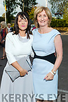Sinead Purcell (Ballyduff) and Mary Kennelly (Moyvane) at the Rose of Tralee fashion show at the dome on Sunday night.