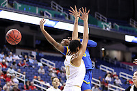 GREENSBORO, NC - MARCH 04: Amber Brown #5 of the University of Pittsburgh collides with Mikayla Vaughn #30 of Notre Dame University during a game between Pitt and Notre Dame at Greensboro Coliseum on March 04, 2020 in Greensboro, North Carolina.