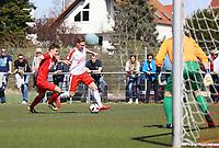 Nils Beisser (Büttelborn) setzt sich durch - 07.04.2019: SKV Büttelborn vs. TSV Lengfeld, Gruppenliga Darmstadt