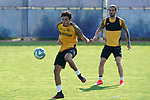 Getafe's Hugo Duro (l) and Jason Remeseiro during training session. May 25,2020.(ALTERPHOTOS/Acero)