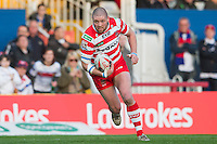 Picture by Allan McKenzie/SWpix.com - 17/04/2015 - Rugby League - Ladbrokes Challenge Cup - Wakefield Trinity Wildcats v Halifax RLFC - Rapid Solicitors Stadium, Wakefield, England - Halifax's Ben Heaton, Ladbrokes, branding.