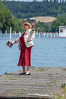 "Henley on Thames, United Kingdom, 24th June 2018, Sunday, ""Henley Women's Regatta"", view, Member of Thames Rowing Club, Pauline RAINER,  Henley Reach, River Thames, England, © Peter SPURRIER, 24/06/2018"