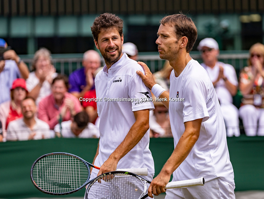 London, England, 5 July, 2019, Tennis,  Wimbledon, Men's doubles: Robin Haase (NED) and Frederik Nieldsen (DEN) (R)<br /> Photo: Henk Koster/tennisimages.com