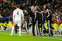 Real Madrid´s coach Carlo Ancelotti and Sergio Ramos during 2014-15 La Liga match between Real Madrid and Sevilla at Santiago Bernabeu stadium in Alcorcon, Madrid, Spain. February 04, 2015. (ALTERPHOTOS/Luis Fernandez) /NORTEphoto.com